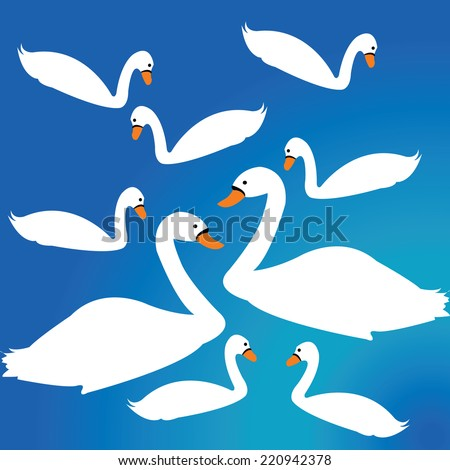 Simple swan decor over blue background  - stock vector
