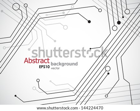 Simple technology background with semiconductor tracks. EPS10 vector. - stock vector