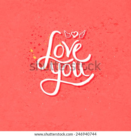 Simple Text Design for Love You Concept with Winged Heart on Dotted Melon Color. Vector illustration. - stock vector