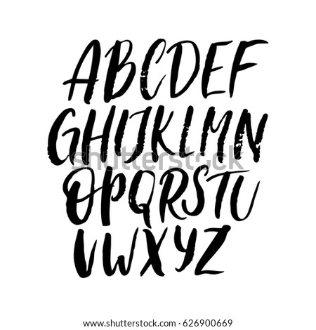 Simple Texture Hand Drawn Alphabet English Uppercase ABC Brush Written Font Script