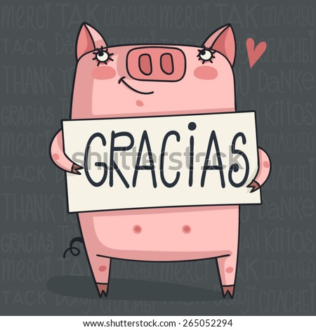 simple thank you card with pig Word Cloud - Thank You in 6 Languages - stock vector