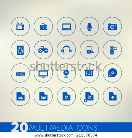 Simple thin multimedia blue icons on light blurred background, 10 EPS  - stock vector