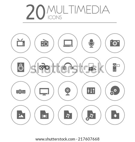 Simple thin multimedia icons on white background - stock vector