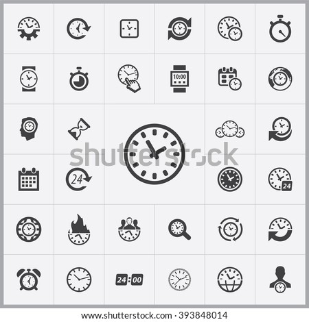 Simple time icons set. Universal time icon to use in web and mobile UI, set of basic UI time elements  - stock vector