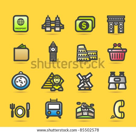 simple travel,landmarks icon set