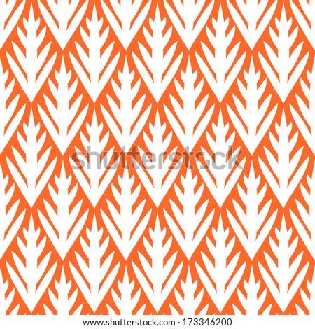 Simple trees geometric ikat seamless pattern in orange, vector - stock vector
