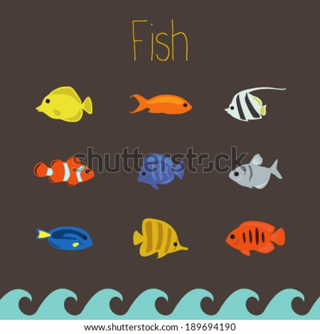 Simple tropical fish set - stock vector