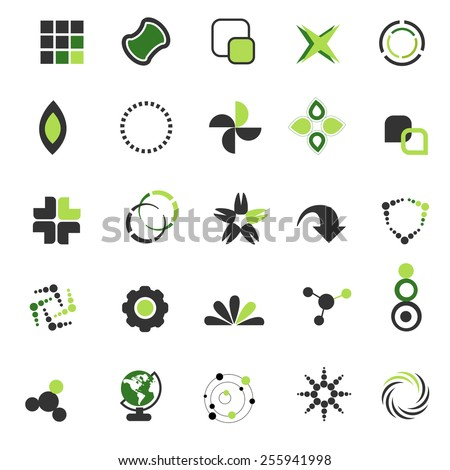 Simple two color shapes collection isolated on white background. can be use as company logos - stock vector