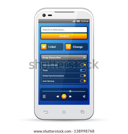 Simple UI Elements Blue Yellow. White Smartphone 480x800. Audio, Player, Button, Switchers, Progress Bar, Drop-Down Box, Search, Icons. Web Design Elements. Software. Vector User Interface EPS10 - stock vector