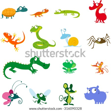 simple vector animals cartoon - amphibians, reptiles and other creatures - stock vector