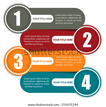 Simple vector background color scheme with four steps and place for text - stock vector
