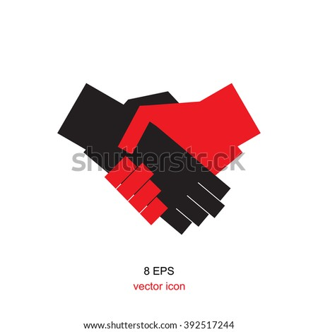 Simple vector black and red icon handshake. Logo for business, web, finance. shaking hands icon, shaking hands illustration, shaking hands EPS8, shaking hands vector, shaking hands design.  - stock vector