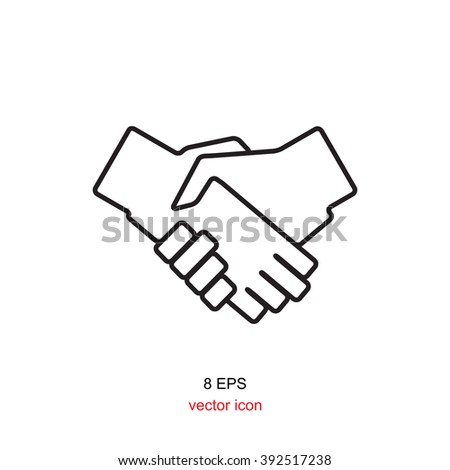 Simple vector black thin line icon handshake isolated on white background. Shaking hands icon, shaking hands illustration, shaking hands EPS8, shaking hands vector, shaking hands design - stock vector