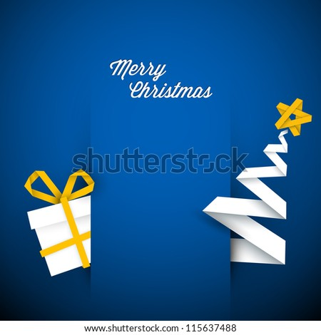 Simple vector blue christmas card with gift and tree made from paper stripe - stock vector