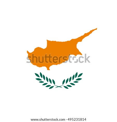 Simple vector button flag - Cyprus