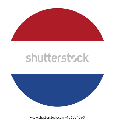 Simple vector button flag - Netherlands
