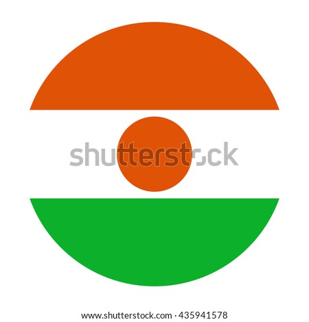 Simple vector button flag - Niger