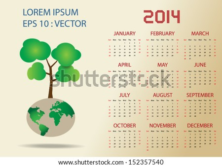 simple 2014 vector calendar with global earth and tree ,vector eps10