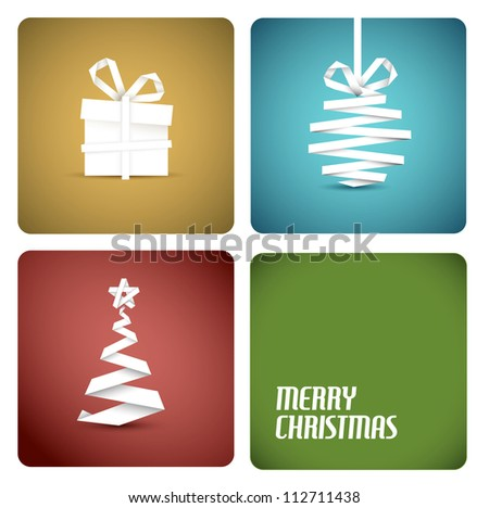 Simple vector christmas decoration made from white paper stripe - original new year retro card - stock vector