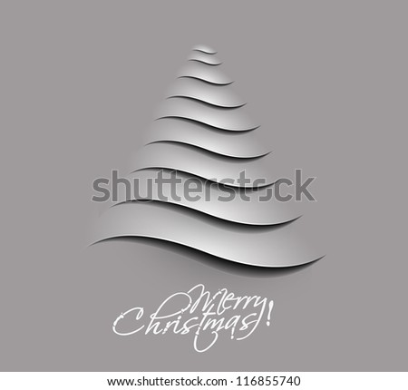 Simple vector christmas tree made from paper cut. - stock vector