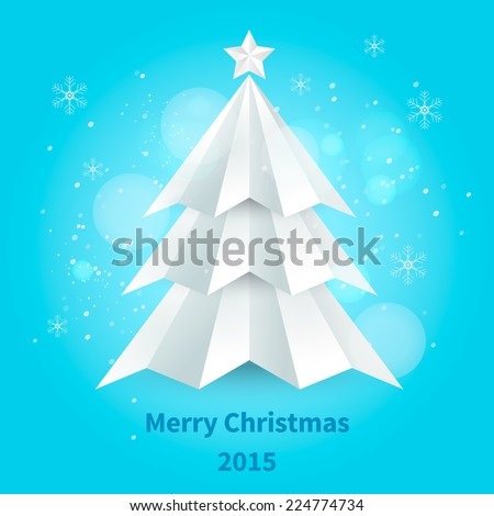 Simple vector christmas tree made from pieces of white paper - original new year card
