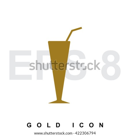 Simple vector coffee cup or cocktail gold icon, logo, template, pictogram, symbol or emblem isolated on white background - stock vector