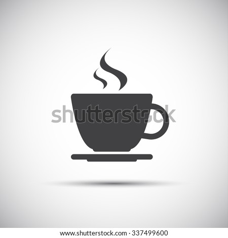 Simple vector coffee icon isolated on white background - stock vector