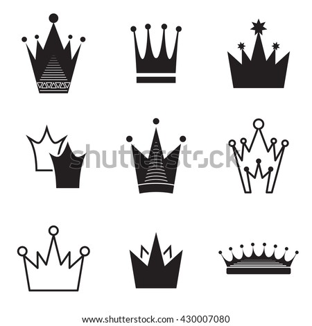 Simple vector crown icon set isolated