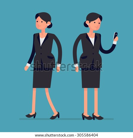 Simple vector female office worker character walking and standing holding phone | Business woman flat design poses | Business woman reading messages on smart phone and walking, full length, isolated - stock vector