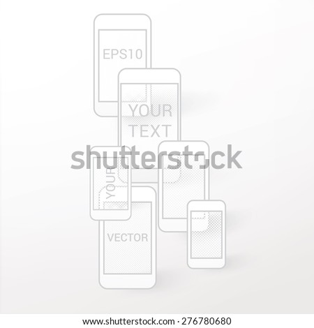 Simple Vector Graphics of Abstract Smart Phones with Pixels Textures  - stock vector