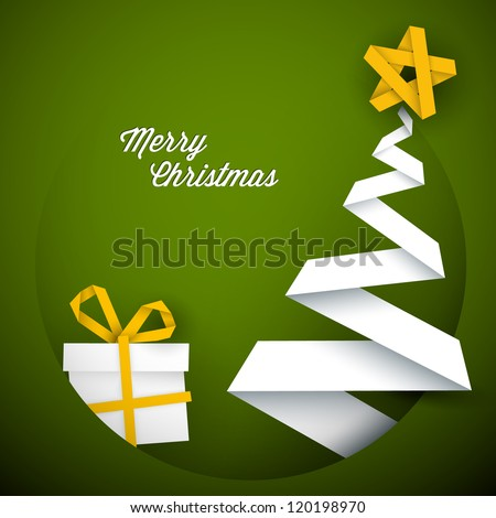 Simple vector green christmas card with gift and tree made from paper stripe