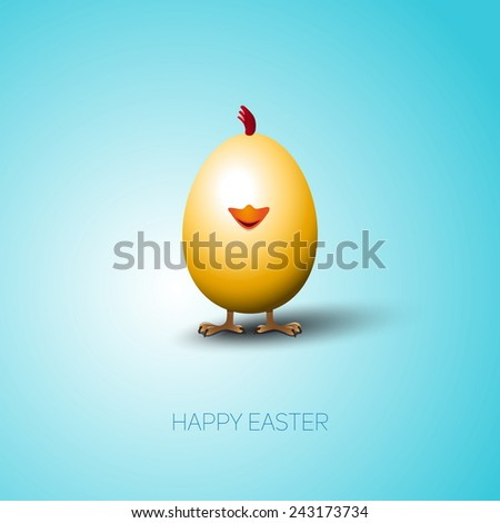 Simple vector Happy Easter card with bright brown egg on the color background - stock vector