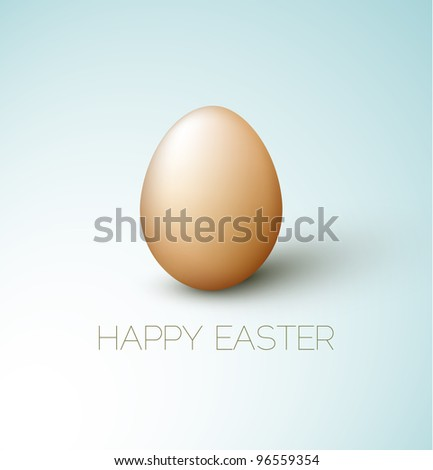 Simple vector Happy Easter card with brown egg on the blue background - stock vector