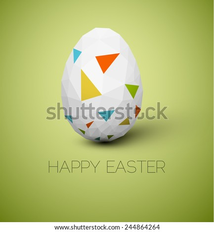 Simple vector Happy Easter card with polygonal egg - stock vector