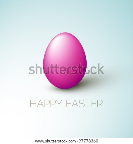 Simple vector Happy Easter card with purple egg on the blue background - stock vector