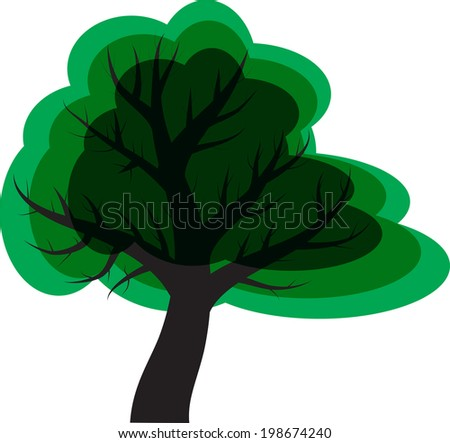 Simple vector illustration of a tree in the style of cartoons, nature and ecology concept - stock vector