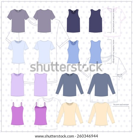 Simple vector illustration. Set of men's and women's clothes. Different T-shirts in front and back views.  - stock vector