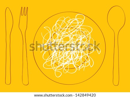 simple vector illustration with macaroni on the plate and cutlery in silhouettes isolated on yellow background - stock vector