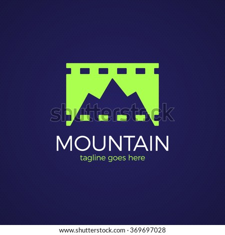 Simple vector logo in a modern style. Top of the mountain in the form of letter M. Mountain film studio - stock vector