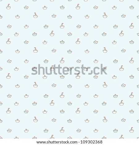 Simple vector paper boats pattern, background for kids. Tiny things collection - stock vector