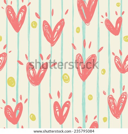 Simple vector pattern with hearts. - stock vector