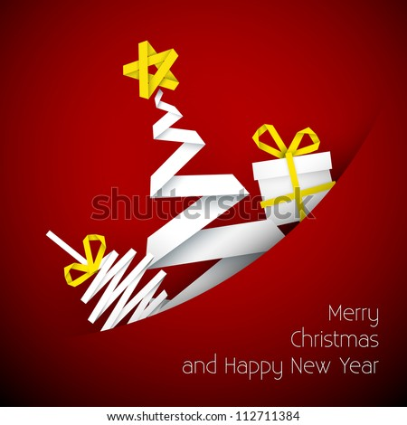Simple vector red christmas card with gift, tree and bauble made from paper stripe - stock vector