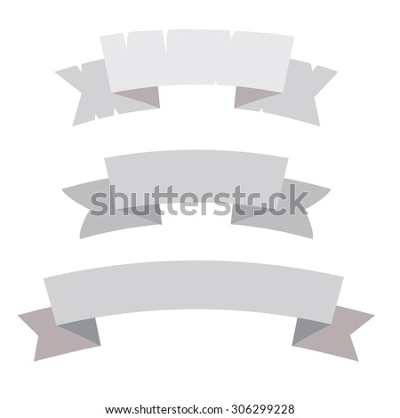 Simple vector ribbons set, banners with copy space. - stock vector