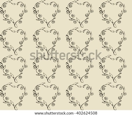 Simple vector seamless repeating pattern for vintage design. Dark brown floral heart on a pale beige background. Excellent design for wrapping. Image in pastel colors. - stock vector