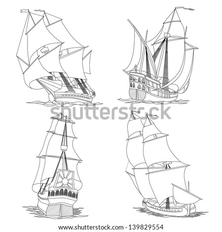 Simple vector set of artistic illustrations: sailing ships of the 17th century painted lines. - stock vector