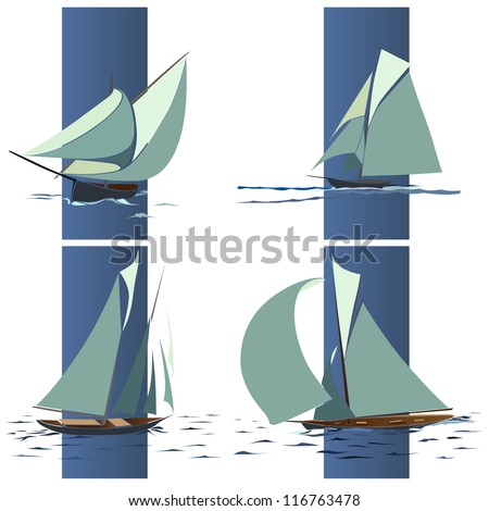 Simple vector set of ships with sails and waves elements in blue box. - stock vector