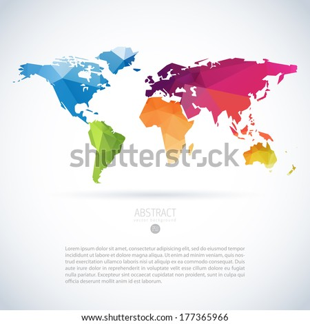 Simple vector template continental world map vector de simple vector template of continental world map with modern triangle pattern gumiabroncs Gallery
