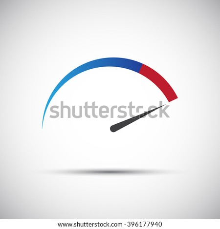 Simple vector thermometer, tachometer,  speedometer icon - stock vector