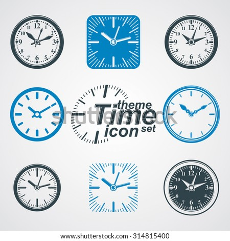 Simple vector wall clocks with stylized clockwise. Business time idea classic graphic symbols collection. Time management conceptual elegant symbols. Web design elements. - stock vector