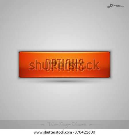 Simple vector web button with shadow on the gay background. Orange design element. - stock vector